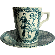 Nymolle Faience Cup & Saucer - Pierrot Harlequin - Denmark
