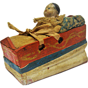 Early Papier Mache Doll Squeaker Toy - Baby In Bed
