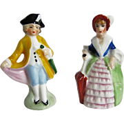 Tiny Painted Bisque Dolls - Colonial Couple - Made In Germany - As Is
