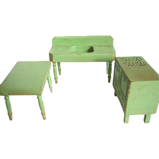3 Piece  Painted Wood Kitchen Set For Doll House
