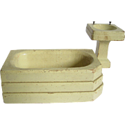Painted Wood Doll House Bathroom Set - Sink & Tub