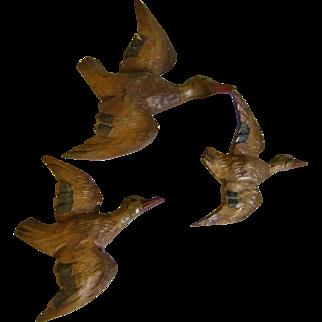 German Black Forest  Folky Carved Birds - Ducks - Signed Germany