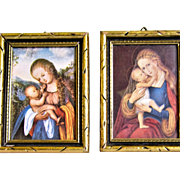 Pair Of Vintage Prints For Doll House - Madonna & Child - Made In Germany