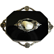 Vintage Sterling Silver Black Stone & Shell Mourning Brooch / Pin