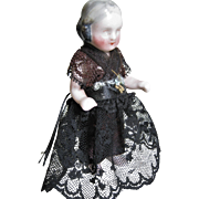 Rare  Pink Tint Frozen Charlotte W/ Gray Hair Mourning Clothes