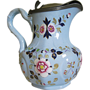 1850s Ridgways Hand Painted Pitcher w/ Lid