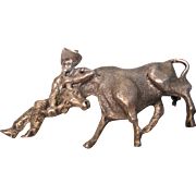 Sterling Silver Rodeo Bull / Steer Wrestling Pin Brooch