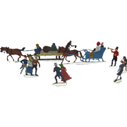 Set Of 8 Christmas Lead Flat Figures - Sleighs & Skaters