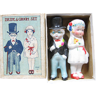 Made In Japan Bisque Bride & Groom In Original Box