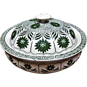 "Unusual Minton's Covered Soap Dish - Aesthetic Pattern ""China Aster"" - Forest Green"