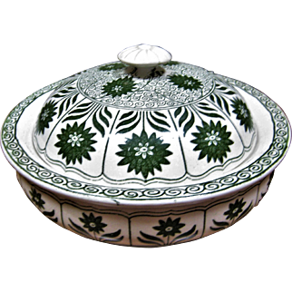"""Unusual Minton's Covered Soap Dish - Aesthetic Pattern """"China Aster"""" - Forest Green"""