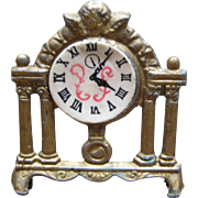 Charming Miniature Metal Dollhouse Mantel Clock