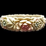 Beautiful Molded Celluloid Flower Bracelet Signed Japan