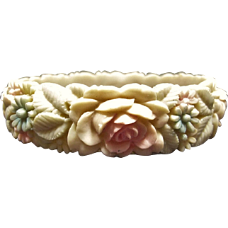 Beautiful Molded Tinted Celluloid Flower Bracelet Signed Japan