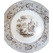 1860 Pair Of Longport Brown Transferware Plates - Nonpareil - T J Mayer