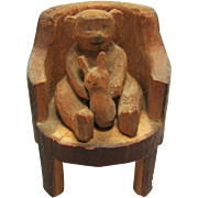 Hand Carved Miniature Teddy Bear In Chair W/ Bunny Rabbit For Doll House