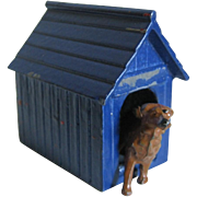 Miniature Metal Dog House With Retriever Dog For Doll