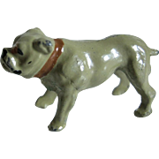 Tiny Vintage Cast Metal Bull Dog For Doll House
