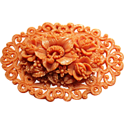 Celluloid  Coral Pin / Brooch Flowers