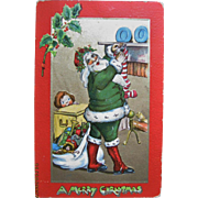 Christmas Postcard Santa Claus In Green Suit Raphael Tuck