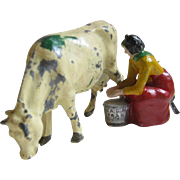 Painted Cast Metal Toy Milk Maid & Cow Miniature