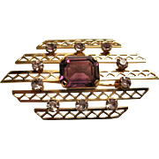 Van Dell 12KT Gold Filled Lattice Style Brooch / Pin W/ Amethyst Glass Stones
