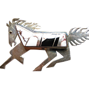 Sterling Silver Running Horse W/ Inset Agate Stones