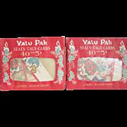 "2 Unopened  Dennison Christmas ""Valu Packs""  Of Seals Tags Cards"