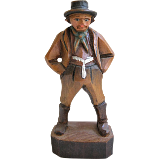 Miniature Hand Carved Wood Figure For Doll House - Man With Hat