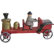 Vintage Erzgebirge Putz  Wood Fire Truck W/ Driver Germany