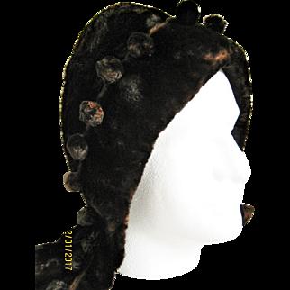 Woman's Vintage Brown Fur Hat / Hood With Fur Pom Poms