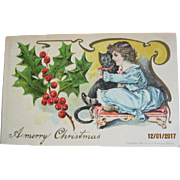 Unusual Victorian Christmas Post Card - Girl & Cat