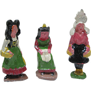Set Of 3 French Cast Metal Figures In Regional Ethnic Costumes