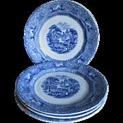 """4 Wedgwood & Co Antique Blue & White """"Lozere"""" Plates"""