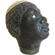 Hand Carved African American  - Handle For Walking Stick - Glass Eyes