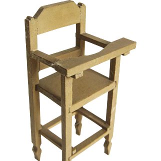 Doll Size Painted High Chair - Signed -  Made In Germany