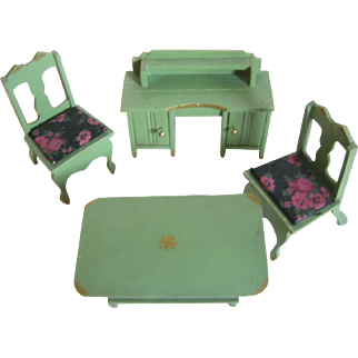 Miniature 4 Piece Doll House Painted Cottage Kitchen Set - Germany