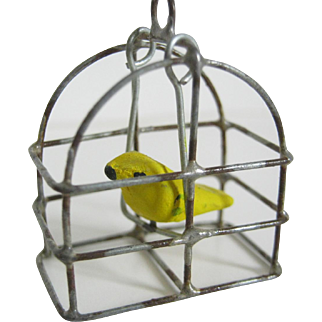 Miniature Doll House Bird In Bird Cage