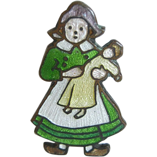 Vintage Guilloche Enamel Pin - Dutch Girl W/ Doll