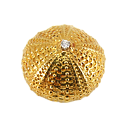 Vintage 18K Gold Seashell Urchin Shell Brooch with Diamond Center
