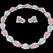 Rare Vintage 1930s Mazer Pastel Fruit Salad Poured Glass Flowers Necklace & Earrings