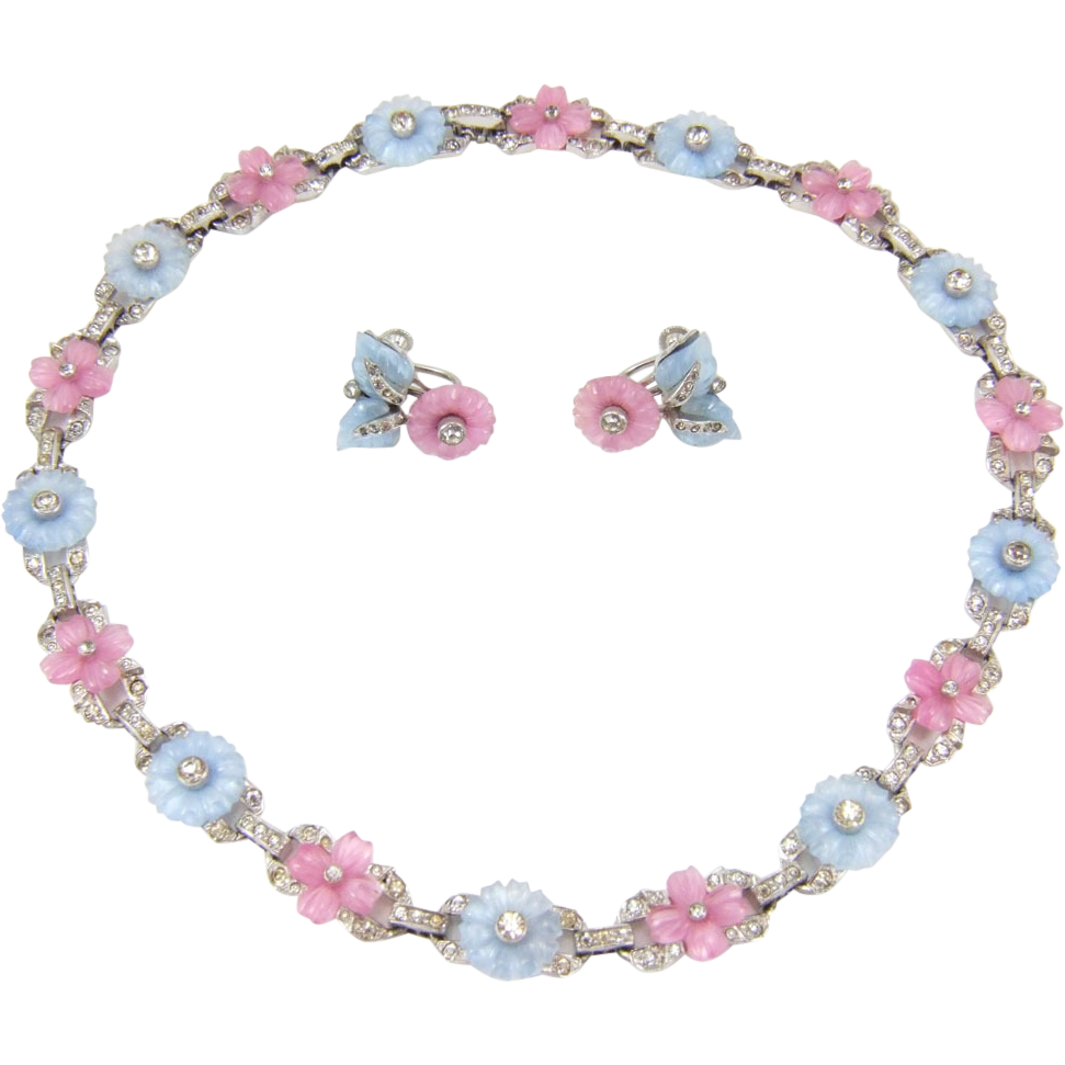 Rare Vintage 1930s Mazer Pastel Fruit Salad Poured Glass Flowers Necklace & Earrings
