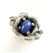 Vintage Estate 14k White Gold Linde Star Sapphire & Diamond Rose Ring
