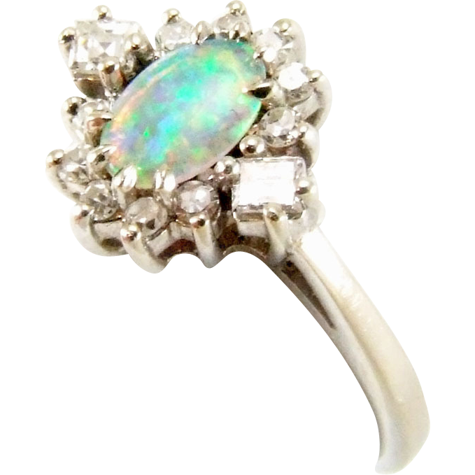 Vintage 14K White Gold Opal & Diamond Cluster Ring