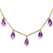 Vintage 9K gold 12 carat Amethyst Briolette Dangle Necklace