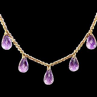 Vintage 9K gold 12 carat Amethyst Briolette Dangle Necklace