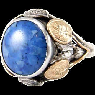 Vintage Arts & Crafts Sterling Silver Faux Lapis Lazuli Ring