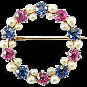Antique Victorian 14K Pink & Blue Sapphire Circle Brooch Pin