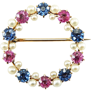 Antique Victorian 14K Pink & Blue Sapphire Circle Brooch Pin