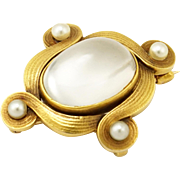 Antique 14K Gold Art Nouveau Moonstone & Pearl Brooch/Pendant